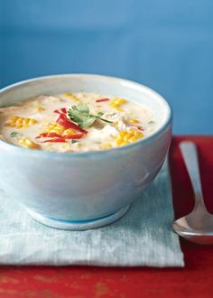 Jalapeño Corn Chowder.  i would substitute queso cheese for the feta
