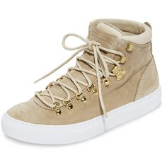 Diemme Marostica Mid Sneakers ($145) ❤ liked on Polyvore featuring shoes, sneakers, nude, leather hi tops, leather sneakers, leather trainers, high top sneakers and diemme footwear