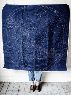 Haptic Lab Navy Embroidered Constellation Quilt - Norman & Jules on Garmentory Quilting Projects, Quilting Designs, Sewing Projects, Constellation Quilt, Haptic Lab, Childrens Shop, Embroidered Quilts, Textiles, Art Object