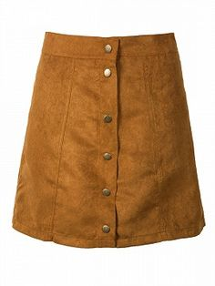 Shop Khaki Suedettte Button Front Plain A-line Skirt.Free shipping Worldwide.$10.99