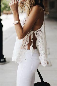 Crochet + white denim.