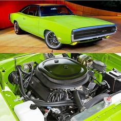 """1970 Dodge Charger 440 Six-Pack street-rod in """"Sub Lime"""" green. Dodge Muscle Cars, Best Muscle Cars, American Muscle Cars, Charger Rt, Power Cars, Us Cars, Street Rods, Amazing Cars, Mopar"""