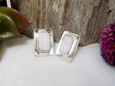 16 mm Handcraft Sterling Silver Light Pink Pearl Rectangle Earrings,Mother Pearl Earrings,Rectangle Earring,Personalized Gifts,Gifts For Her by Supsilver on Etsy