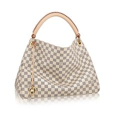 Artsy MM The Artsy MM looks fresh and feminine in supple Damier Azur canvas. Adorned with shiny golden brass and a chic bag charm, its exquisite handcrafted leather handle adds a luxurious crowning touch.