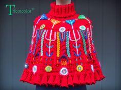 Tricotcolor Poncho Crochet, Capelet, Lana, Knitwear, Captain Hat, Crochet Necklace, Beanie, Boho, Vintage