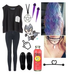 Purple by sanne-alta on Polyvore featuring polyvore, fashion, style, Blondes Make Better T-Shirts, Topshop and Converse
