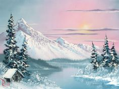 Bob Ross Painting.. I think I remember being 8yrs old laying on floor watching him paint this on our families 13ch dial console tv... My oh my how times have changed!!