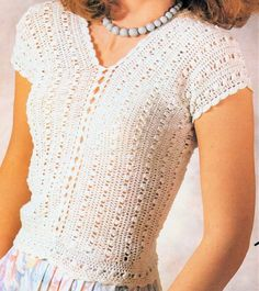 Crochet White Crochet Top PATTERN, Simplicity Shell Top- Digital Download- Sizes: Small 8-10, Medium 12-14 and Large 16-18