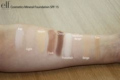 Swatches of the Mineral foundation range  (image 1 of 2)  http://www.eyeslipsface.com/minerals/face/foundation/foundation