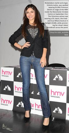 Victoria Justice was photographed wearing her DL1961 premium denim jeans in Sept 2012 at the HMV.