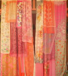 DREAMS OF DELHI Gypsy Curtains handmade by Babylon Sisters. Set includes two panels with 2 wide rod pocket tops. Each panel measures about 60 wide by 84 long. New purchased off-white sheer curtains carefully sewn with layers of beautiful vintage silk and chiffon scarves. Babylon Sisters gypsy curtains are made from materials collected from near and far. We gather up the silk and lace left around the fire after the gypsies have stolen away into the night. Our creations are based on be...