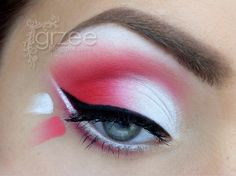 Red and White Eye Makeup, but could sub any color