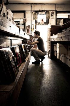 Me digging @ Jim Russell's Records, New Orleans