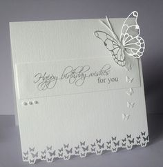 happy birthday--Stacky's little creations: CAS ! Memory Box Cards, Embossed Cards, Butterfly Cards, Pretty Cards, Card Sketches, Diy Cards, Craft Cards, Sympathy Cards, Creative Cards