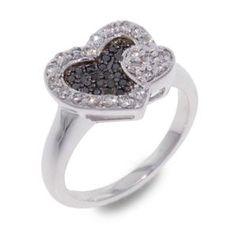 #Malakan #Jewelry - Silver Black Velvet Diamond Heart-Shaped Ring  56358A3 #BlackVelvetDiamond #BlackVelvetDiamonds #Heart #Hearts #Love