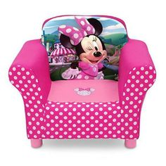 She'll love to snuggle up in this Disney Minnie Mouse Upholstered Chair from Delta Children. A cozy toddler chair it features a durable wood frame plush foam padding storage pockets on both sides . Toddler Chair, Toddler Rooms, Girl Toddler, Kids Rooms, Disney Gift, Disney Cars, Disney Pixar, Kids Bedroom Furniture, Disney Furniture
