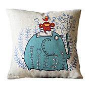 """18"""" Square Blue Elephant Cotton/Linen Decorat... – USD $ 12.99"""