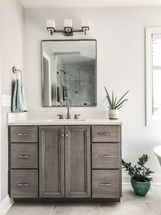 Home Design And Decor Ideas And Inspiration — First Thyme Mom - Grey Bathroom Vanity. Rustic Bathroom Mirrors, Brass Bathroom Faucets, Grey Bathroom Vanity, Gray Bathroom Decor, Rustic Bathroom Designs, Gray Vanity, Small Bathroom Vanities, Modern Master Bathroom, Rustic Bathrooms