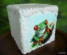 Handgeschilderde kikker taart/ hand painted frog cake