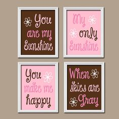You Are My Sunshine Wall Art Artwork Pink Brown Quote Flower Baby Crib NURSERY Song Print Set of 4 Prints Baby Decor    ★Includes 4 unframed prints