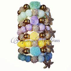 2pc Gemstone Nugget Stretch Bracelet Set by NGeniousCreations, $30.00