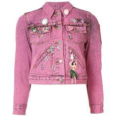 Marc Jacobs shrunken embellished jacket (2.915 BRL) ❤ liked on Polyvore featuring outerwear, jackets, tops, embroidered jean jacket, jean jacket, acid wash denim jacket, embellished jean jacket and 3/4 sleeve denim jacket