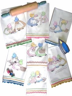 Inspired by the Sunbonnet girls of yesterday, this iron-on design can be  done with or without the fabric paints.  Materials Used: Seven Towels Floss Kit Fabric Paint Fashion Green True Blue Flesh Orchid Warm Yellow Black