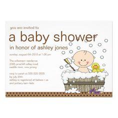 Cute Baby Tub Boy Baby Shower Custom Invitations