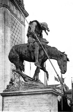 """""""The End of the Trail,"""" by James Earl Fraser, a noble piece of historical sculpture, illustrating the highest aims of contemporary American art. It stands before the Court of Palms. The story here told of the vanishing Indian race must be read in connection with that of """"The Pioneer.""""  The Jewel City - 1915 S.F. Panama-Pacific International Exposition"""