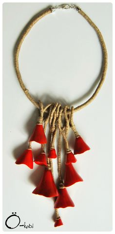 Cone pendant necklace by O-kobi. Polymer clay, alcohol inks, linen cord.