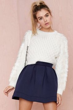 Nasty Gal Nicki Skater Skirt - Navy
