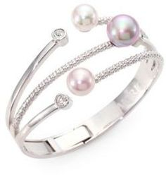 Majorica 10MM-12MM Multicolor Round Pearl Bangle Bracelet