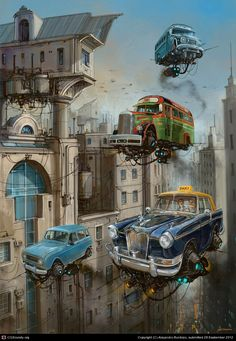 Alejandro Burdisio Scrap Metal Universe - The Flying World by Alejandro Bur . - Alejandro-Burdisio-Scrap Metal Universe – The flying world of Alejandro Burdisio - Metal Tree Wall Art, Scrap Metal Art, Metal Artwork, Diesel Punk, Auto Illustration, Illustration Artists, Drawn Art, Flying Car, Art Archive