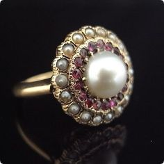 Victorian' ruby and pearl #Rings #Jewelry #custom #PearlRings | For more beautiful rings see:        	http://www.ringsoftheworld.com