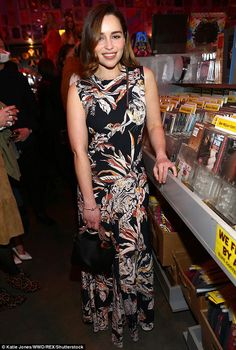 Game of Thrones' Emilia Clarke shows off in a cat-print floral gown in LA | Daily Mail Online