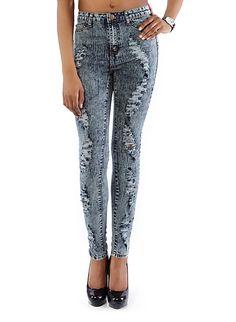 Acid Wash Distressed Cigarette Jeans