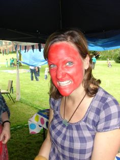 Tea Party, Mad Hatters Tea Party, Face Paiting, Red Face at the Dorothy Clive Garden in Staffordshire
