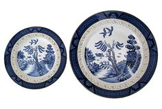 "Nikko Japan Blue Plates, Pair on OneKingsLane.com 10"" & 7.25"" x 1"""