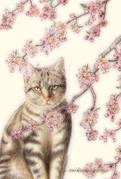 桜の下 I Love Cats, Cool Cats, Types Of Animals, Decoupage, Whimsical Art, Dog Art, Painting & Drawing, Cats And Kittens, Illustration Art