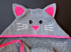 Hooded Towels- Lion and Cat by Everyday Art … - hooded towel Kids Hooded Towels, Hooded Bath Towels, Diy Baby Gifts, Baby Crafts, Sewing Projects For Kids, Sewing For Kids, Hooded Towel Tutorial, Towel Animals, Towel Crafts