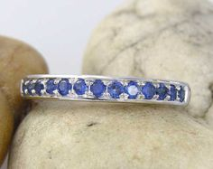 Blue Sapphire Band Ring Sterling Silver - MADE TO ORDER in your ring size - limited edition - BS001