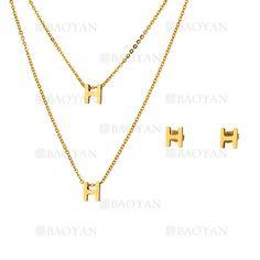 collar y aretes de H de dorado en acero inoxidable-SSNEG483483