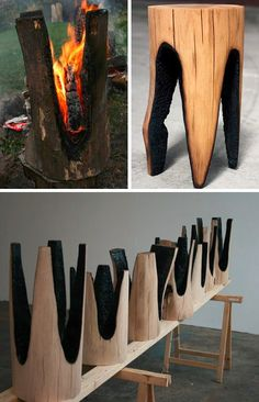 upcycled charred furniture set