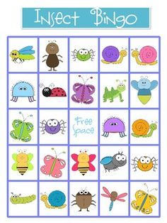 Free! Insect bingo game