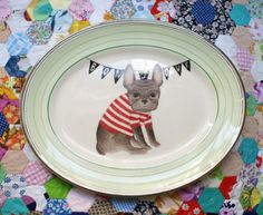 Bonjour Wilfred the French Bulldog Large Vintage Illustrated Plate