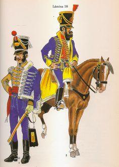 Spanish; Hussars of Burgos, Officer & Hussars Franco de Valdepenas Hussar.