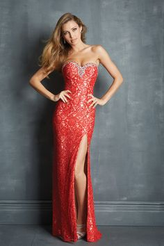 2014 Lace Prom Dresses Red Sweetheart Column Sweep Train Rhinestone Beaded