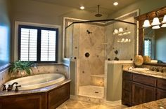 Can do this with shower in corner but w/o tub.  Could add standalone tub on other end of room later?