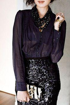 City Lights Sequin Pencil Skirt - Black