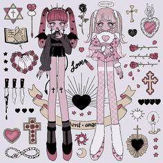 Cute Art Styles, Cartoon Art Styles, Pastel Goth Art, Estilo Anime, Creepy Art, Kawaii Art, Character Design Inspiration, Aesthetic Art, Cute Drawings